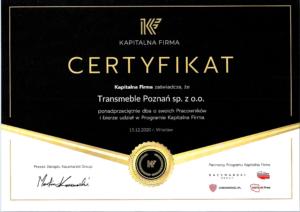 Certyfikat - Kapitalna Firma-1