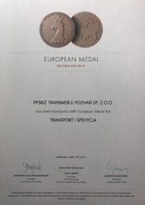 Medal Europejski w kategorii Transport i Spedycja
