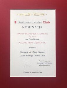 Nominacja do Złotej Statuetki Lidera Polskiego Biznesu 2018