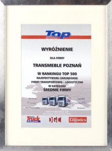 """Wyróżnienie w rankingu Top 500 czasopisma Truck & Business Polska – """"500 Najbardziej efektywnych ekonomicznie firm logistycznych"""""""
