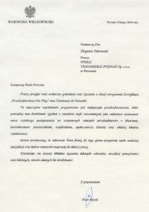 Gratulacje od Wojewody Wielkopolskiego