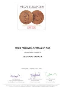 Medal Europejski w kategorii TRANSPORT-SPEDYCJA