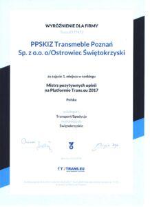 Mistrz pozytywnych opinii na platformie TRANS.EU 2017